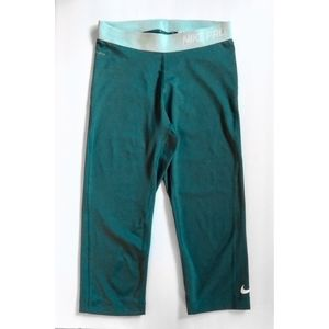 Nike Pro Teal Crop Tights Leggings Size S